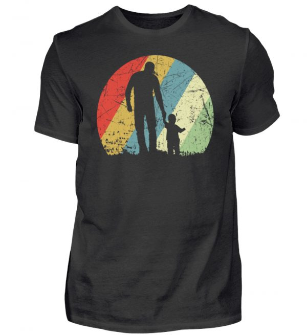 Vater und Sohn im Kreis mit leichtem Grunge-Effekt. Vintage Farben - Herren Premiumshirt-16