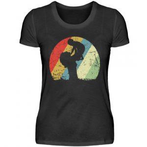 Mutter mit Kind im Kreis mit leichtem Grunge-Effekt. Vintage Farben - Damenshirt-16