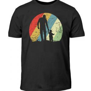 Vater und Sohn im Kreis mit leichtem Grunge-Effekt. Vintage Farben - Kinder T-Shirt-16
