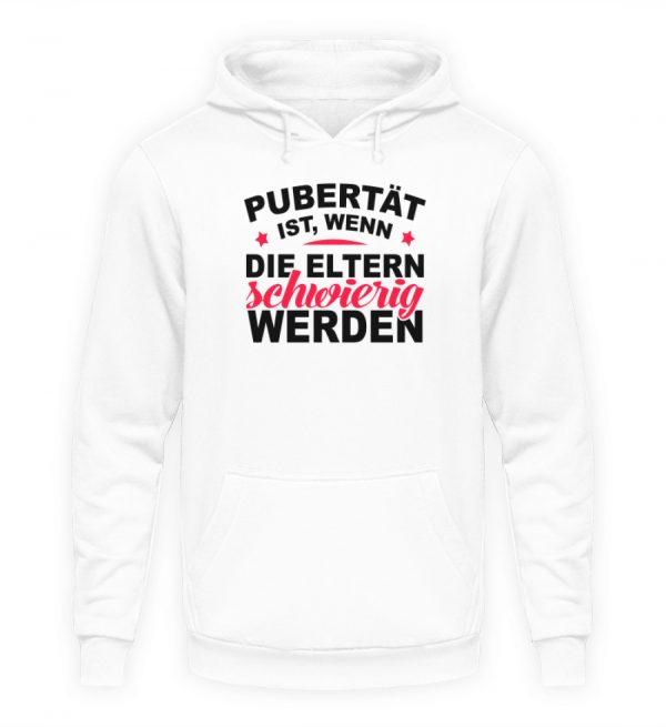 Lustiges Spruch T-Shirt | Pubert?t ist, wenn die Eltern schwierig werden | Design Shirt - Unisex Kapuzenpullover Hoodie-1478