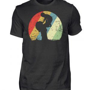 Mutter mit Kind im Kreis mit leichtem Grunge-Effekt. Vintage Farben - Herren Shirt-16